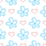 Repeated flowers and hearts. Cute seamless pattern for children. Stock Photography