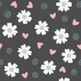 Repeated flowers, hearts and dots. Seamless pattern. Repeated flowers, hearts and dots. Seamless pattern for kids. Black, blue, white, pink colour. Vector Stock Images