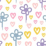Repeated flowers and hearts painted with rough brush. Cute watercolour seamless pattern for children. Sketch, watercolor. Repeated flowers and hearts painted stock illustration