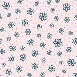 Repeated flowers and rounded dots drawn by hand. Cute seamless pattern. Sketch, doodle. Endless girlish print. Girly vector illustration royalty free illustration