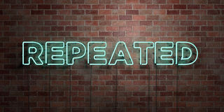 REPEATED - fluorescent Neon tube Sign on brickwork - Front view - 3D rendered royalty free stock picture Royalty Free Stock Photo
