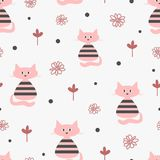 Repeated funny cats, abstract flowers and round dots. Cute seamless pattern. Endless stylish girly print. Vector illustration for children. Gray, black, pink Royalty Free Stock Photography