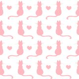 Repeated hand drawn pattern design with kittens and hearts. Elegant and creative hand drawn cats design seamless pattern vector for prints on paper, fabric or Vector Illustration