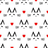 Repeated heart and outline of cat`s head drawn by hand. Cute seamless pattern for children. Endless vector illustration Stock Image