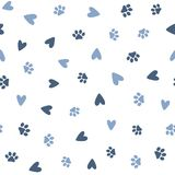 Repeated hearts and footprints of pets. Cute seamless pattern for animals. royalty free illustration