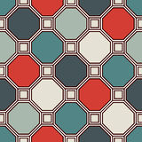Repeated octagons stained glass mosaic background. Retro ceramic tiles. Seamless pattern with geometric ornament. Stock Photography