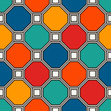 Repeated octagons stained glass mosaic background. Vivid ceramic tiles. Seamless pattern with geometric ornament. Repeated octagons stained glass mosaic Royalty Free Stock Image