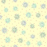 Repeated outline of abstract flowers on background with round dots. Floral seamless pattern for children. Sketch, doodle. Simple vector illustration stock illustration