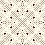 Repeated outline rhombuses and brackets on white background. Modern ornament motif. Symmetric geometric surface pattern Royalty Free Stock Photo