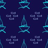 Repeated outline of sailboats and fish drawn by hand. Simple marine seamless pattern.