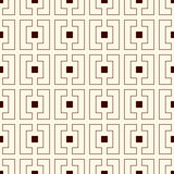 Repeated outline squares and brackets on white background. Modern ornament motif. Symmetric geometric surface pattern Royalty Free Stock Photography