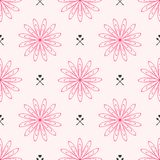 Repeated outlines of flowers and hearts with arrows. Cute floral seamless pattern. Endless feminine print. Vector illustration Stock Images