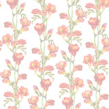Repeated pastel pattern. Light floral design - spring branches, red freesias flower Stock Image