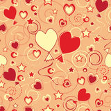 Repeated pattern with hearts and baloons Stock Image