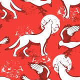 Repeated pattern with wild animals. Royalty Free Stock Images