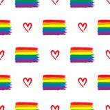 Repeated rainbow LGBT flags and hearts drawn by hand. Seamless pattern for homosexuals. vector illustration