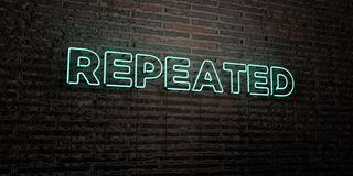 REPEATED -Realistic Neon Sign on Brick Wall background - 3D rendered royalty free stock image. Can be used for online banner ads and direct mailers vector illustration
