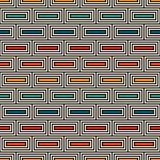 Repeated rectangular blocks abstract background. Bricks motif. Ethnic style seamless pattern with geometric ornament. Repeated rectangular blocks abstract Royalty Free Stock Image