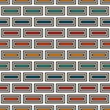 Repeated rectangular blocks abstract background. Bricks motif. Ethnic style seamless pattern with geometric ornament. Repeated rectangular blocks abstract Stock Image