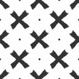 Repeated round spots and crosses drawn by hand with rough brush. Simple seamless pattern. Sketch, grunge, watercolor, paint. Vector illustration royalty free illustration