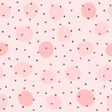 Repeated rounded spots. Seamless pattern with irregular polka dots. Simple girlish print. Girly vector illustration. Pink, purple, black vector illustration