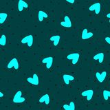 Repeated scattered hearts and irregular polka dot. Romantic seamless pattern. royalty free illustration