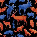 Repeated seamless pattern of different forest animals. Collection of different forest animals isolated on white background. Vector repeated seamless pattern stock illustration