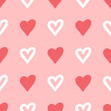 Repeated silhouettes and contours drawn heart brush. Seamless pattern. Pink, white Stock Images
