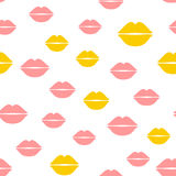 Repeated silhouettes of female lips. Cute seamless pattern. Stock Photography