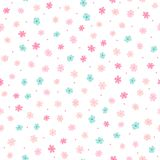 Repeated small cute flowers and round dots. Simple girly floral pattern. Endless feminine print. Vector illustration vector illustration