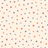 Repeated small cute flowers. Simple floral seamless pattern. Endless feminine print. Vector illustration stock illustration