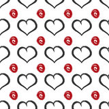 Repeated squiggles and hearts. Seamless pattern. Stock Photos