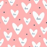 Repeated stars and hearts with handwritten text Love. Romantic seamless pattern. Endless cute print. Girly vector illustration royalty free illustration