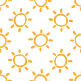 Repeated suns drawn by hand. Seamless pattern for children. Stock Photos