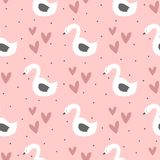 Repeated swans, hearts and round dots. Cute seamless pattern for children. Endless girlish print. Girly vector illustration. Pink, white, purple, black Stock Photo