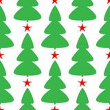 Repeated trees and stars. Simple New Year seamless pattern. Endless print for children. Vector illustration vector illustration