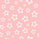 Repeated white round dots and outlines of stars on pink background. Cute seamless pattern for girls. vector illustration