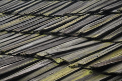 Repeated wooden tiles with moss and lichen in Asia Royalty Free Stock Photos