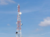 Repeater stations or Telecommunications tower in a day of clear Royalty Free Stock Photography