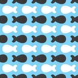 Repeating abstract silhouettes of small fish. Seamless pattern. Vector illustration Stock Photo