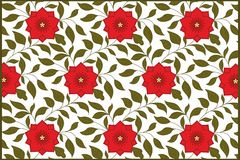 Repeating background with flowers - red flower Stock Photo