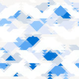 Repeating background with geometric shapes in white and bright blue color. Vector Stock Photo