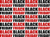Repeating Black Friday Text Background. Vector Pattern. Stock Images