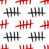 Repeating black and red tally marks on a white background. Seamless pattern. vector illustration