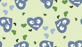 Repeating Blue Heartache Symbols. Repeating pattern of heartbroken heart symbols over green Stock Photo