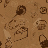 Sweet seamless background. Repeating brown background with sweets, cakes, etc Royalty Free Stock Photos