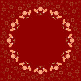 Repeating circle gingerbread cookies pattern on the red background with stars silhouette. Border frame with space for text. Christmas and Happy New Year symbol Royalty Free Stock Photos