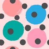 Repeating colored round spots painted with watercolor brush. Cute seamless pattern for girls. Girly vector illustration royalty free illustration