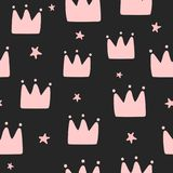 Repeating crowns and stars drawn by hand. Simple seamless pattern for little princesses. Cute endless print for girls. Girly vector illustration Royalty Free Stock Photo