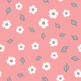 Repeating cute flowers and outlines of leaves. Cartoon seamless pattern. Royalty Free Stock Photos